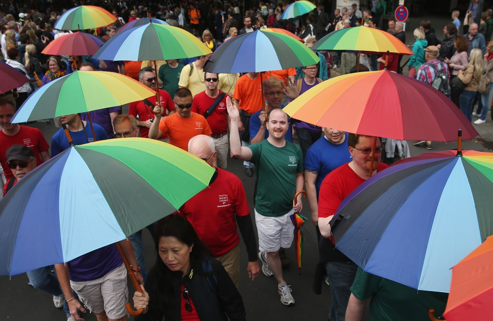 Members of the Seattle Men's Chorus participate in the annual Christopher Street Day parade on Kurfuerstendamm avenue on June 21, 2014 in Berlin. (Sean Gallup/Getty Images)