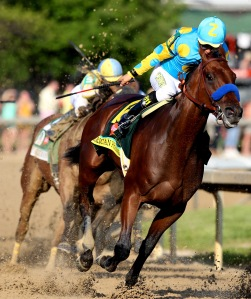 American Pharoah owns the field during the 141st running of the Kentucky Derby at Churchill Downs on May 2, 2015 in Louisville, Kentucky. (Getty)