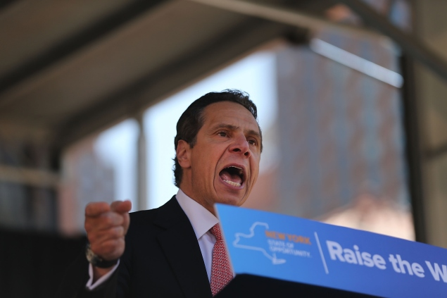 New York Governor Andrew Cuomo speaks to labor leaders and union workers at a rally in Union Square on May 7, 2015 in New York City. (Photo: Spencer Platt/Getty Images)