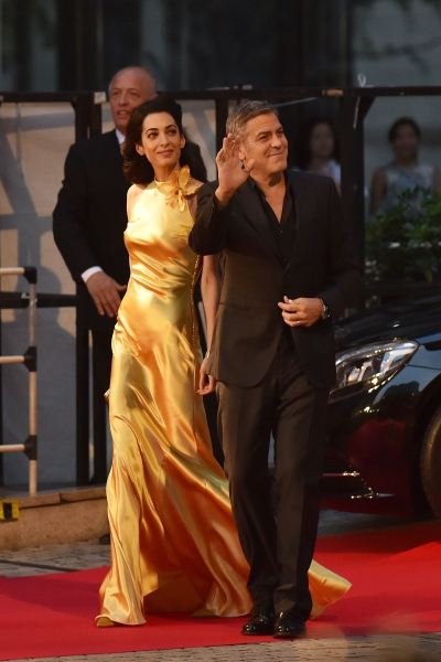 "TOKYO, JAPAN - MAY 25:  Lawyer Amal Clooney and actor George Clooney attends the Tokyo premiere of ""Tomorrowland"" at Roppongi Hills on May 25, 2015 in Tokyo, Japan.  (Photo by Atsushi Tomura/Getty Images)"