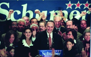 """Mr. Schumer on the night he was elected a U.S. senator. (Photo"""" HENNY RAY ABRAMS/AFP/Getty Images)"""