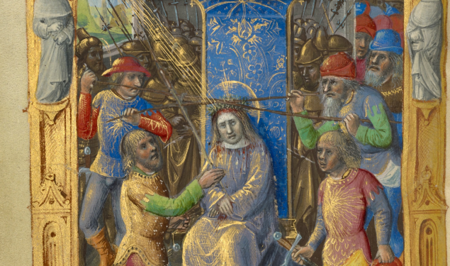 Mocking of Christ, about 1500, Master of Cardinal Bourbon. Tempera colors, ink and gold on parchment. (Photo: J. Paul Getty Museum)