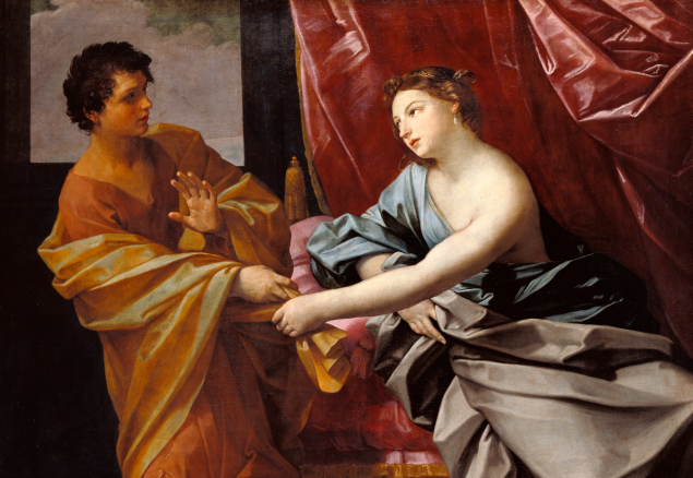 Joseph and Potiphar's Wife, about 1630, Guido Reni. Oil on canvas. (Photo: J. Paul Getty Museum)