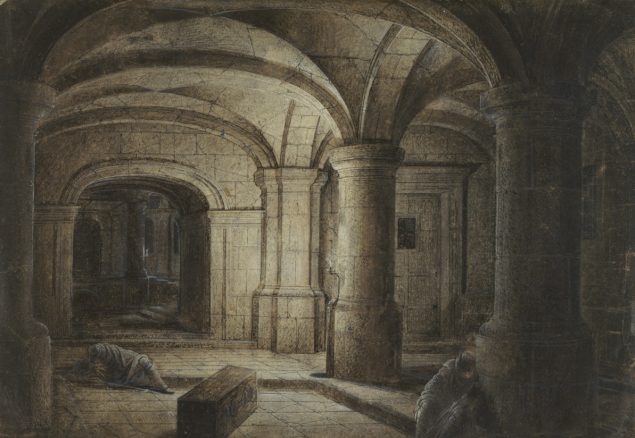 The Crypt of a Church with Two Men Sleeping, possibly 1625, Hendrick van Steenwijck the Younger. Pen and dark brown ink, brush with brown wash, graphite, heightened with white gouache, on tan paper. (Photo: J. Paul Getty Museum)