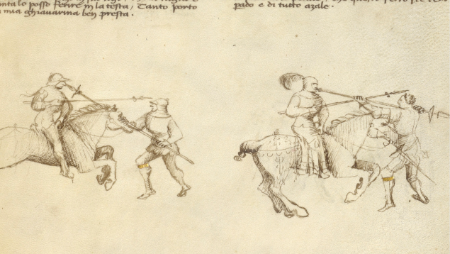 Combat against an Equestrian Opponent with Lance, about 1420, Fiore Furlan dei Liberi da Premariacco. (Photo: J. Paul Getty Museum)