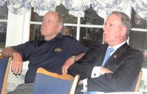 Debate organizer Bill Asdal, left, with former Assemblyman Guy Gregg.