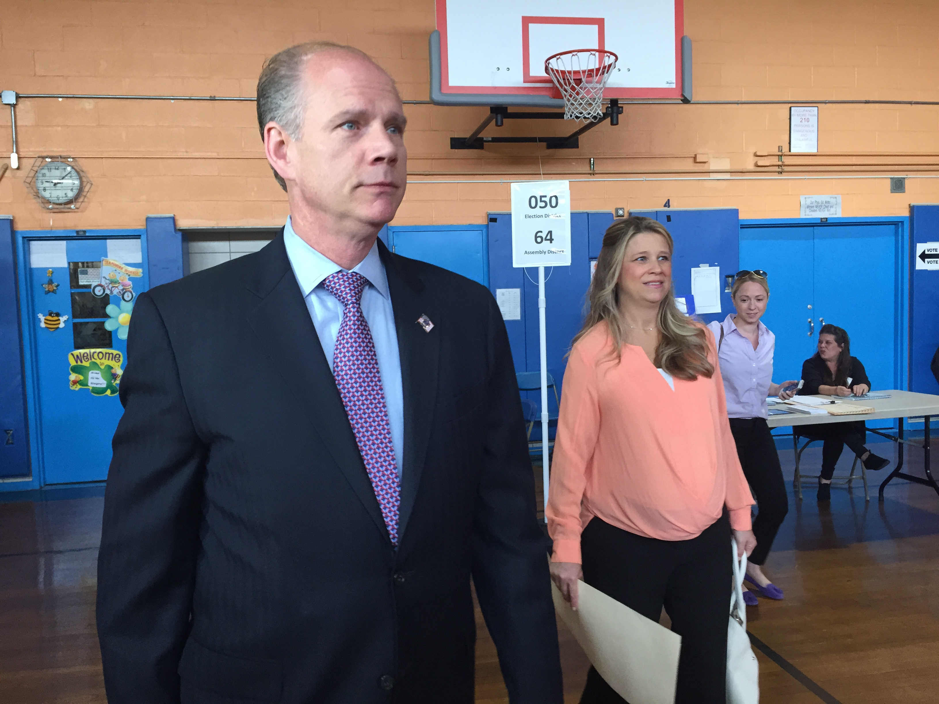 Staten Island District Attorney Daniel Donovan and his fiancee Serena Stonick vote on Staten Island. (Photo: Jillian Jorgensen/New York Observer)