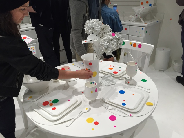 "Dots, dots, everywhere! Yayoi Kusama's ""The Obliteration Room"" was a free-for-all for visitors with stickers. (Photo: Alanna Martinez"