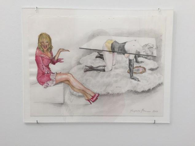 "Margaret Harrison, Allen Jones & The P.T.A. (Dolly Parton/Allen Jones ""Table"" sculpture), (2010). (Photo: Alanna Martinez)"
