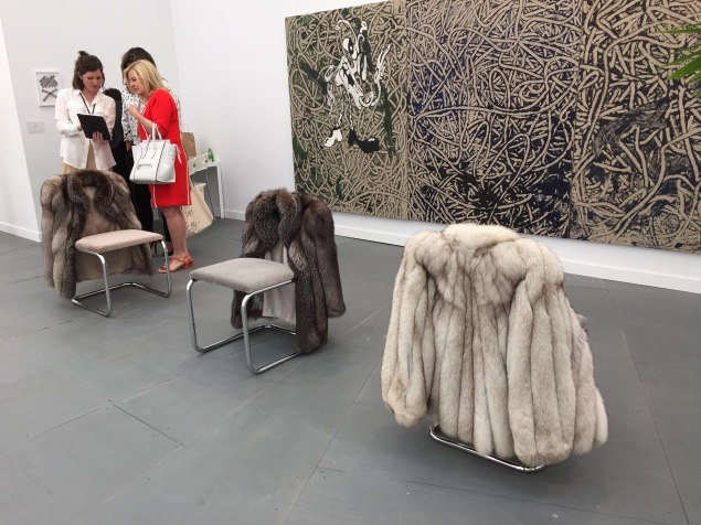 Nicole Wermers' fur-covered chairs at Herald St. (Photo: Alanna Martinez)