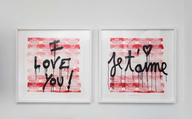 Mr. Brainwash paintings. (Photo: Emily Assiran/New York Observer)