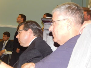 Sette, right, and Assemblyman Tony Bucco (R-25), both of whom back the Scapicchio-Krickus-Smith Team.