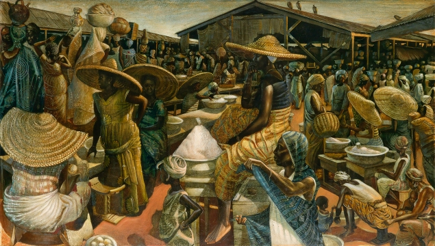 John Biggers, Kumasi Market, oil and acrylic on masonite board, 1962 (Photo courtesy of Swann Galleries)