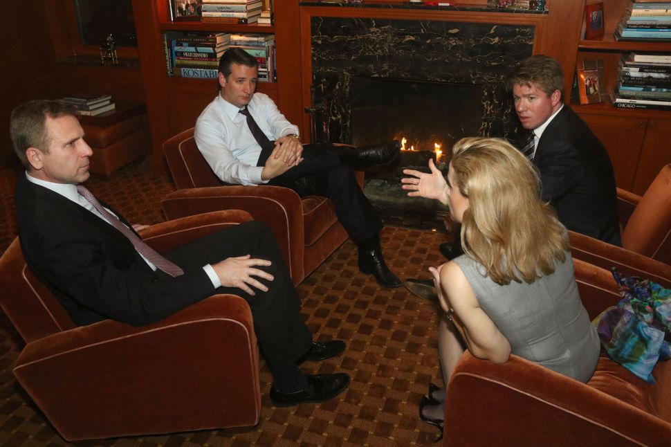 From Left to Right: Mati Weiderpass, Ted Cruz, Kalman Sporn and Heidi Cruz at a literal fireside chat in Mr. Weiderpass' apartment.