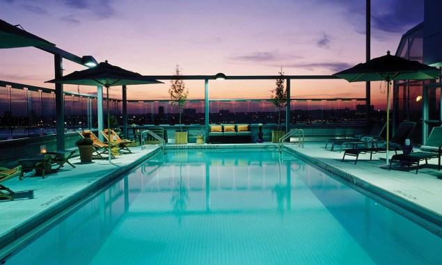 The rooftop pool by night. (Photo: www.gansevoorthotelgroup.com)