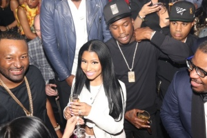 Nicki Minaj and Meek Mill attend D'USSE Presents Fight Weekend At Marquee Las Vegas Hosted By JAY-Z, May 2, 2015. (Photo by Johnny Nunez)