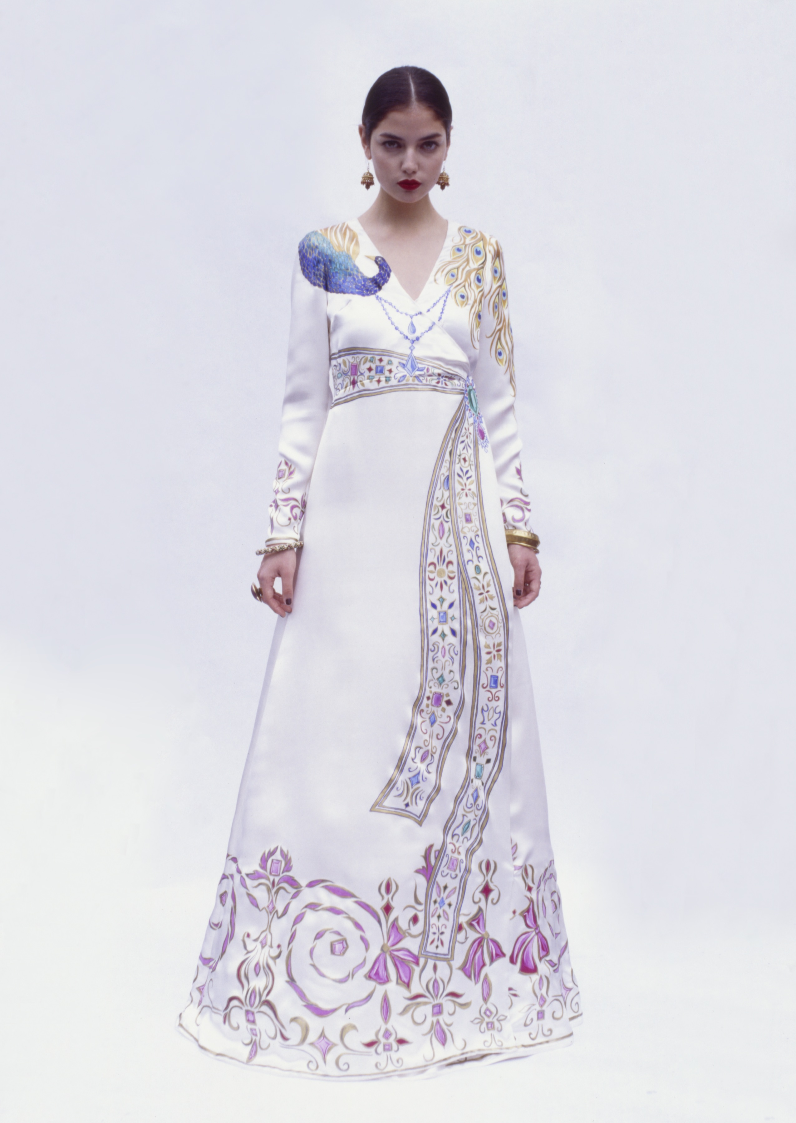 A hand-painted peacock gown