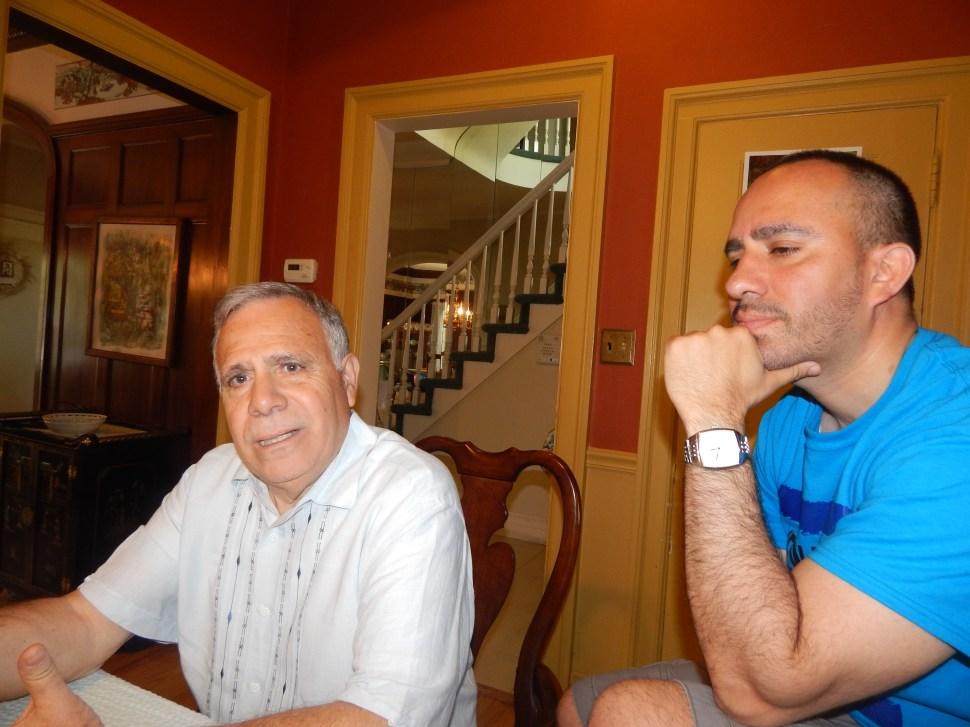 Councilman Fernando Gonzalez, left, and hos son, campaign manager Daniel Gonzalez.
