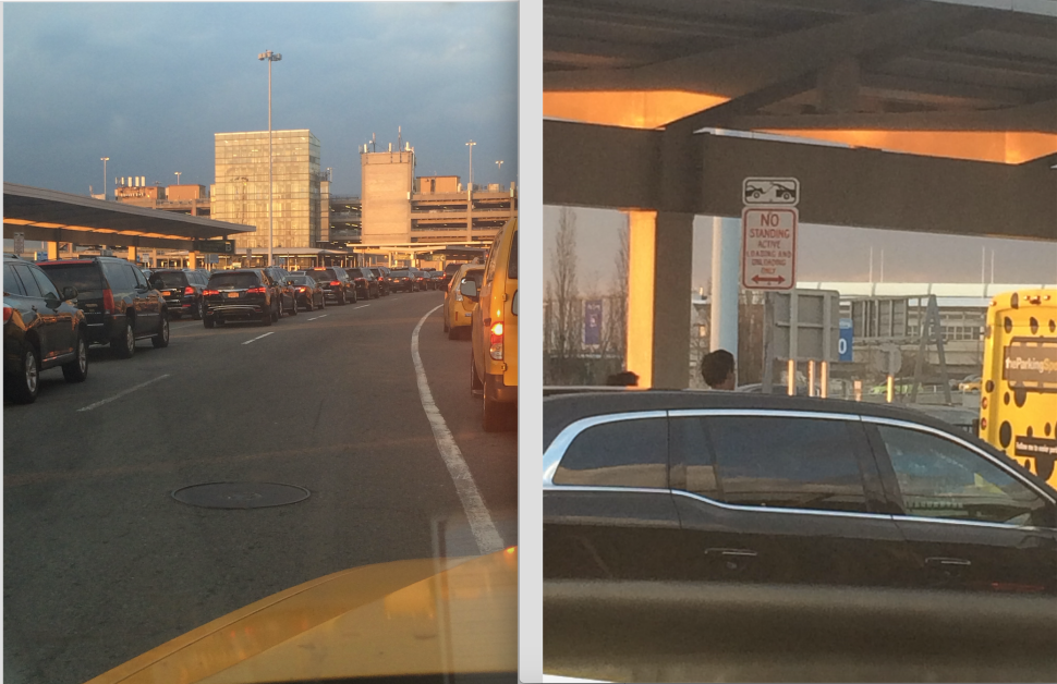 The photo on the left shows approximately 30 ride-share cars waiting at the airport in what have become known as 'Uber lanes' because they are not shooed away by the traffic minders; on the right, an Uber car, which removed its placard just before pulling into a space clearly marked 'No Standing.' (New York Observer)