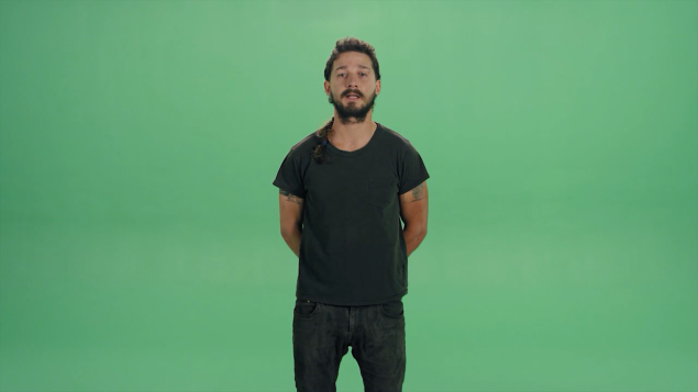 A screenshot of Shia LaBeouf performing directors from Central Saint Martins students in #INTRODUCTIONS.