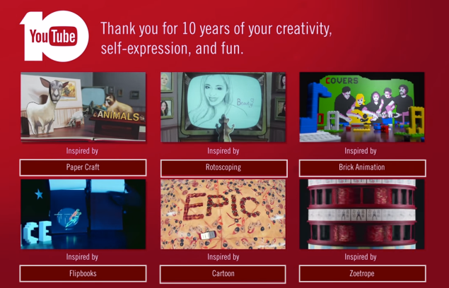 Screen shot from YouTubes 10 year Anniversary video