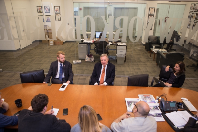 "Illinois Senator Richard Joseph ""Dick"" Durbin speaks to the staff of New York Observer by Arman Dzidzovic/New York Observer"