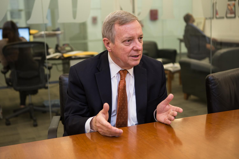 Senator Dick Durbin today. (Photo: Arman Dzidzovic/New York Observer)