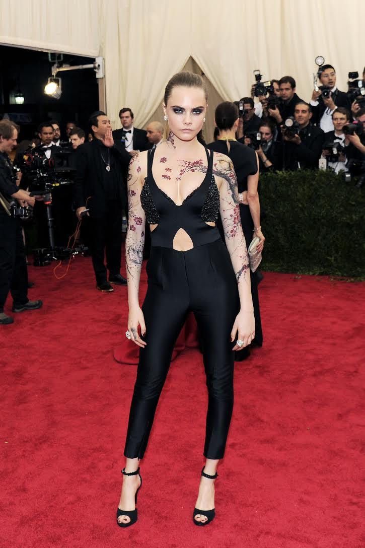 "Cara Delevingne, Costume Institute Benefit at Metropolitan Museum. Celebrate the Opening of ""China: Through the Looking Glass"" Exhibition, May 04, 2015 (Photo credit: Nicholas Hunt/PatrickMcMullan.com)"