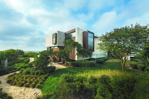 An oceanfront property landscaped by Jack deLashmet makes use of 'borrowed scenery' and native plantings to create a dune-like effect. (Photo courtesy BMA)