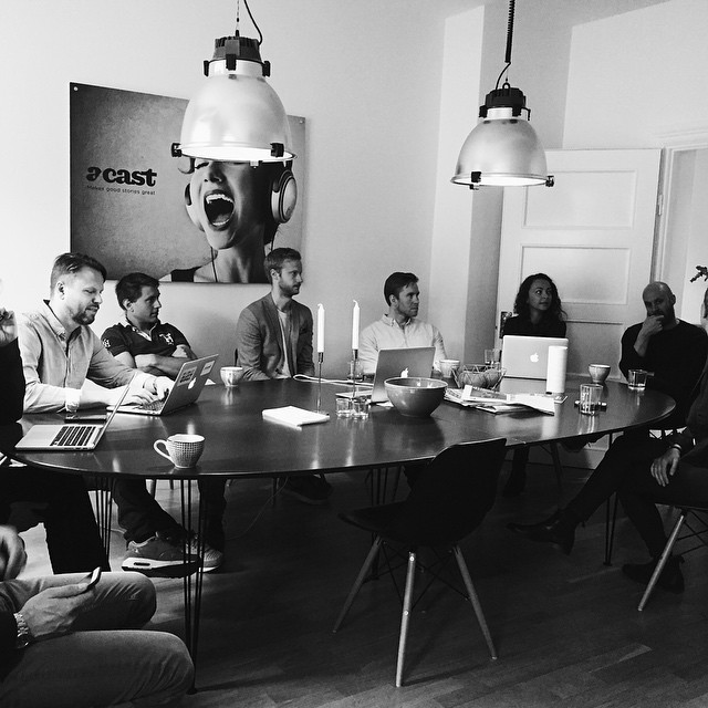 Team meeting in the Acast office in Stockholm. (Photo: Acast)