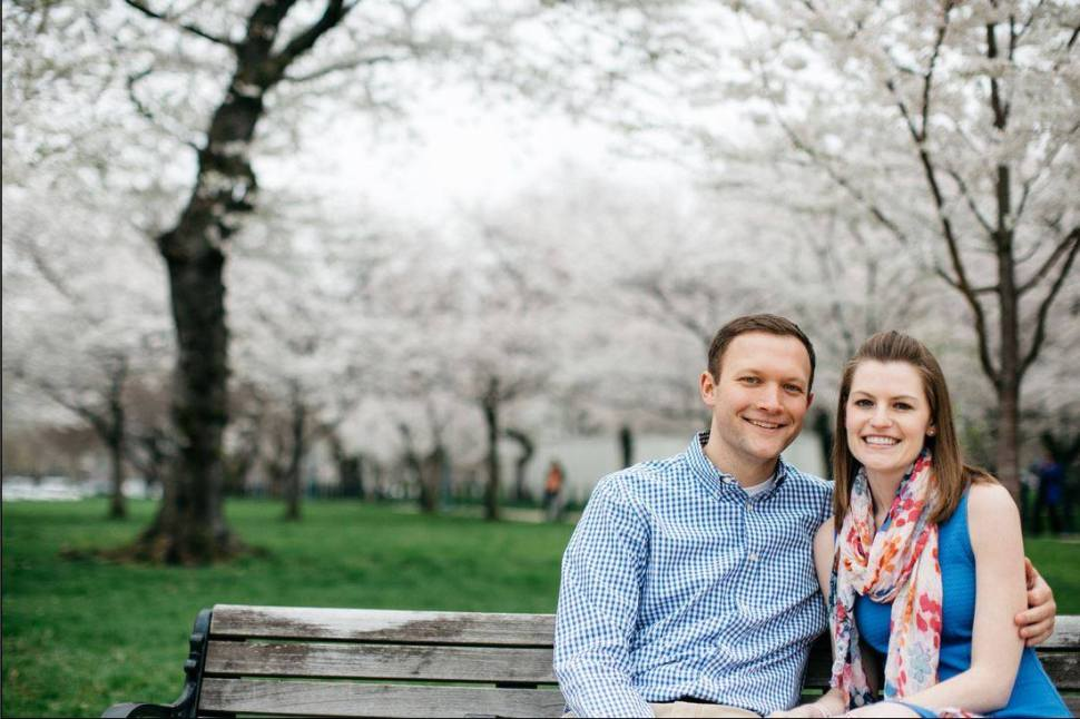Snugglebunny Jon Kohan pictured amid the cherry blossoms in DC with some lucky lady (Facebook).