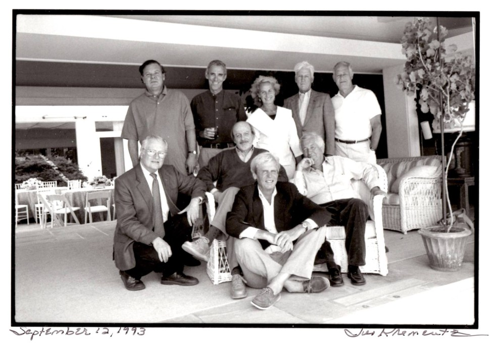 James Salter photographed by Jill Krementz on September 12, 1993, at a Paris Review Celebration in East Hampton. Front row: George Plimpton; Second Row, left to right: John Ashbery, Ed Doctorow, Bill Styron; back row: Willie Morris, Peter Matthiessen, Rose Styron, John Train, James Salter