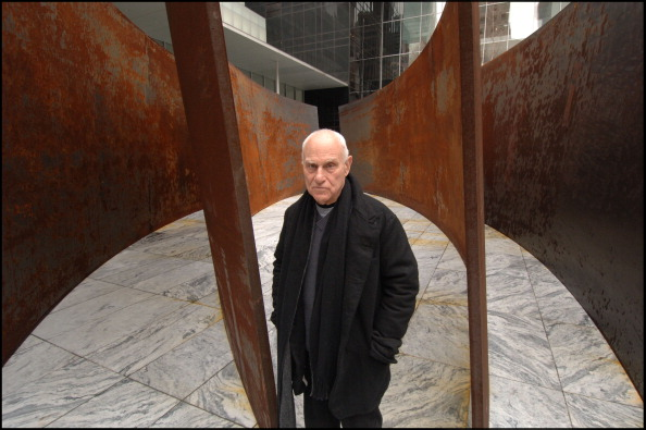 American sculptor Richard Serra at Museum Of Modern Art Sculpture Garden in New York with one of his sculptures on April 17, 2007. (Photo by David Corio/Redferns)