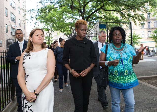 Council Speaker Melissa Mark-Viverito, left, tours the Mill Brook Houses with NYCHA Chairwoman Shola Olatoye (Photo: NYCHA Flickr).