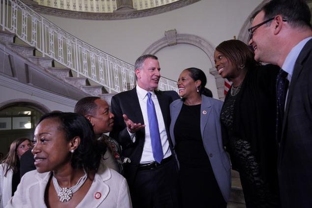 Mayor Bill de Blasio celebrates with the City Council after they reached a budget deal this month. (Photo: William Alatriste/NYC Council)