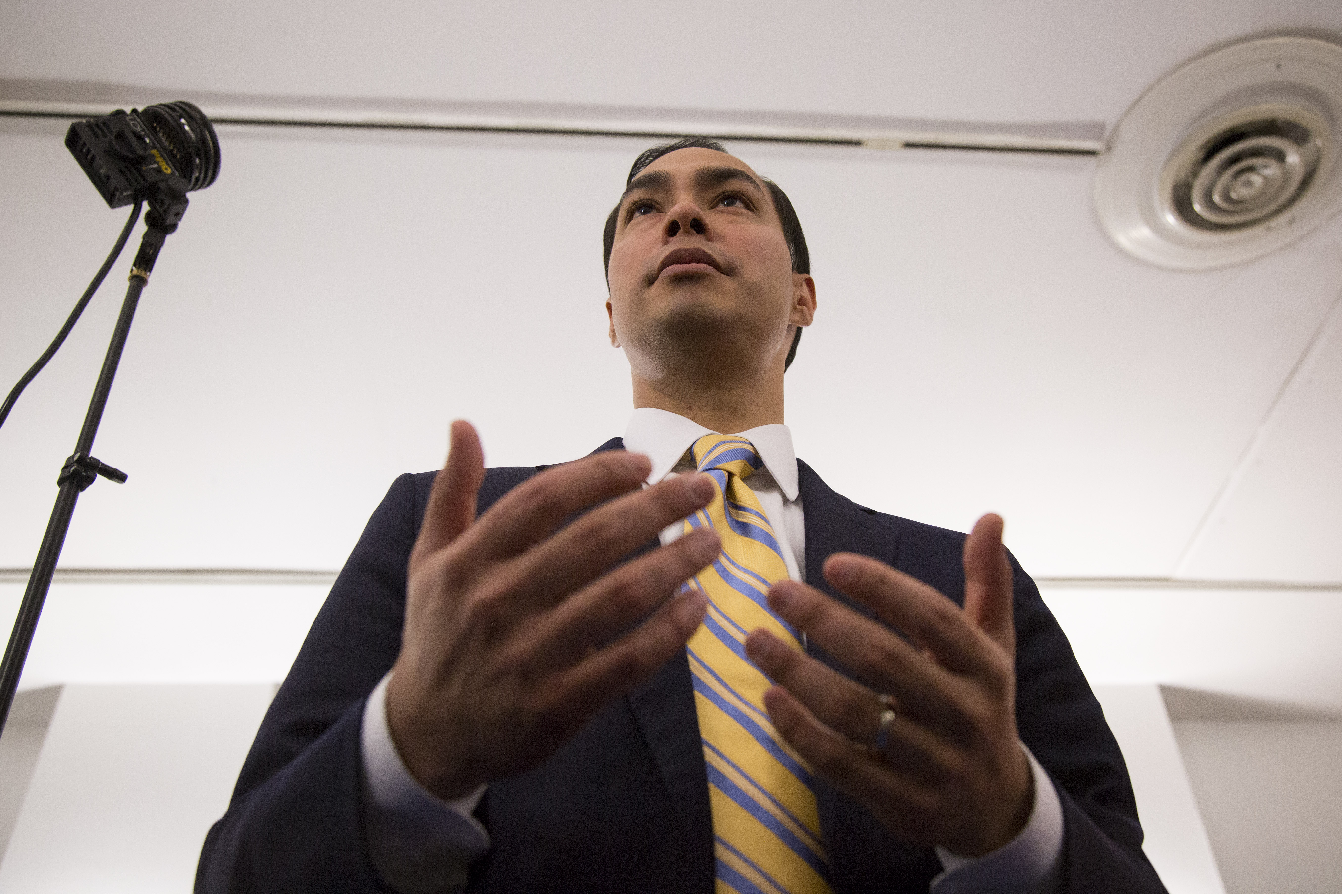 Housing Secretary Julian Castro speaks to reporters at Cooper Union in New York, U.S., on Friday, May 29, 2015.  Photographer: Michael Nagle