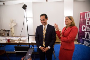 Housing Secretary Julian Castro, left, speaks to reporters with NYC council speaker Melissa Mark-Viverito, right, at Cooper Union in New York, U.S., on Friday, May 29, 2015.  Photographer: Michael Nagle