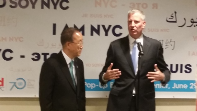 Mayor Bill de Blasio with UN Secretary General Ban ki-Moon. (Photo: Ross Barkan/New York Observer)
