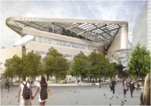 A new rendering of the Bloomberg Center at the Cornell Tech campus. (Photo courtesy of Cornell Tech.)