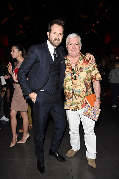 MILAN, ITALY - JUNE 20:  Tim Blanks (R) attends the Dolce & Gabbana show during the Milan Men's Fashion Week Spring/Summer 2016 on June 20, 2015 in Milan, Italy.  (Photo by Jacopo Raule/Getty Images)