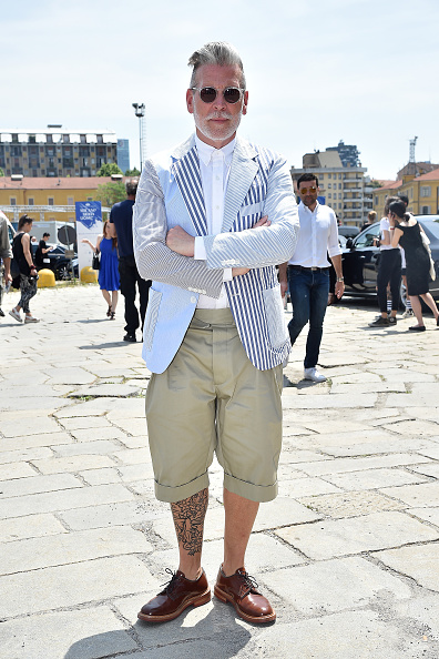 MILAN, ITALY - JUNE 22:  Nick Wooster arrives at the Gucci show during the Milan Men's Fashion Week Spring/Summer 2016 on June 22, 2015 in Milan, Italy.  (Photo by Jacopo Raule/Getty Images)