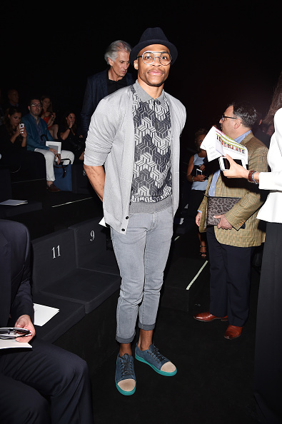 MILAN, ITALY - JUNE 23:  Russell Westbrook attends the Giorgio Armani show during the Milan Men's Fashion Week Spring/Summer 2016 on June 23, 2015 in Milan, Italy.  (Photo by Jacopo Raule/Getty Images)