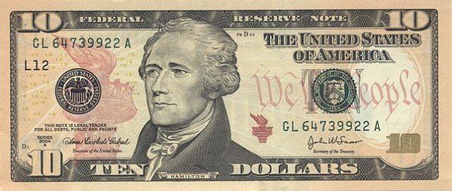 The current $10 bill. (Photo: Wikipedia)