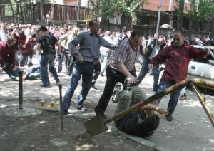 Police and anti-Saakashvili demonstrators in Tbilisi in 2009. (STR/AFP/Getty Images)