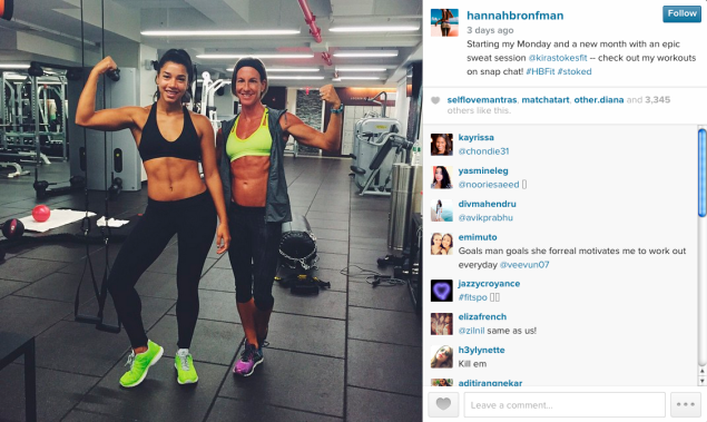 Hannah Bronfman worked out with Kira Stokes. (Photo: Instagram)