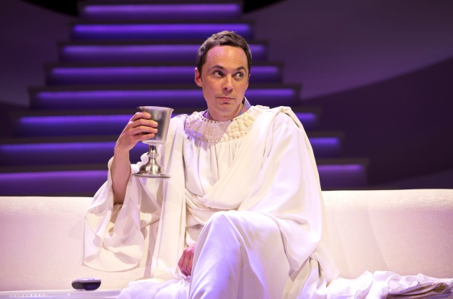 Jim Parsons, left, dons his holy vestments in An Act of God. (Photo: Jeremy Daniel)