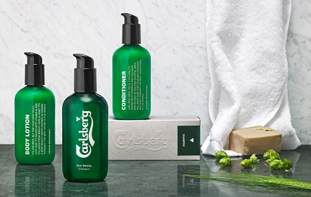 Carlsberg has debuted a line of men's grooming products made from beer. (Photo: Carlsberg)