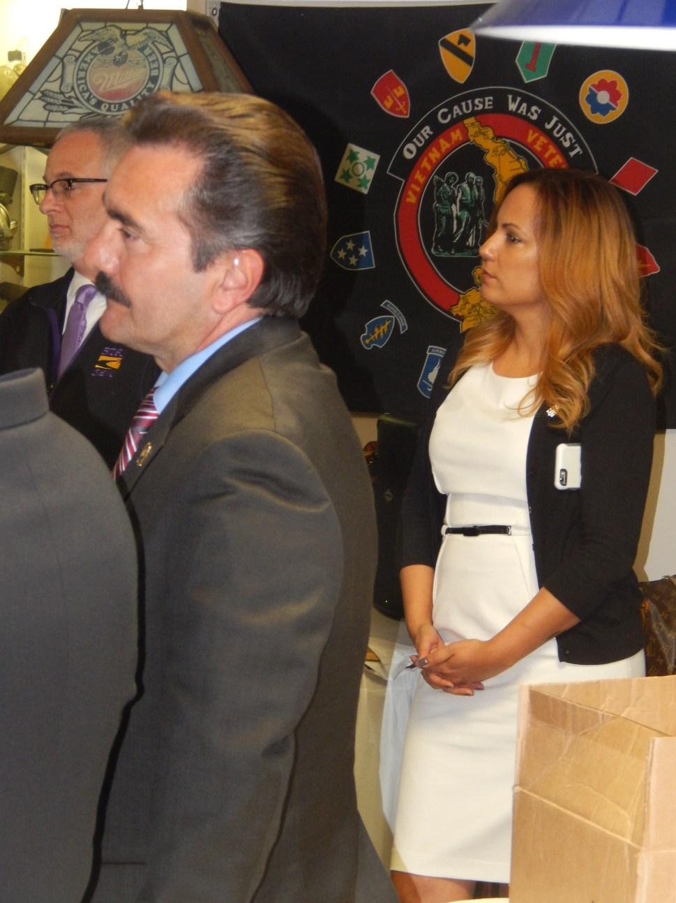Speaker Vincent Prieto (D-32), left, and SEIU 32BJ's Political Director Julie Diaz.
