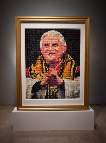 Artist Niki Johnson's portrait of Pope Benedict XVI, titled Eggs Benedict (2013). The painting was recently acquired by the Milwaukee Art Museum for its permanent collection. (Photo: Courtesy artist's website, nikijohnson.com)
