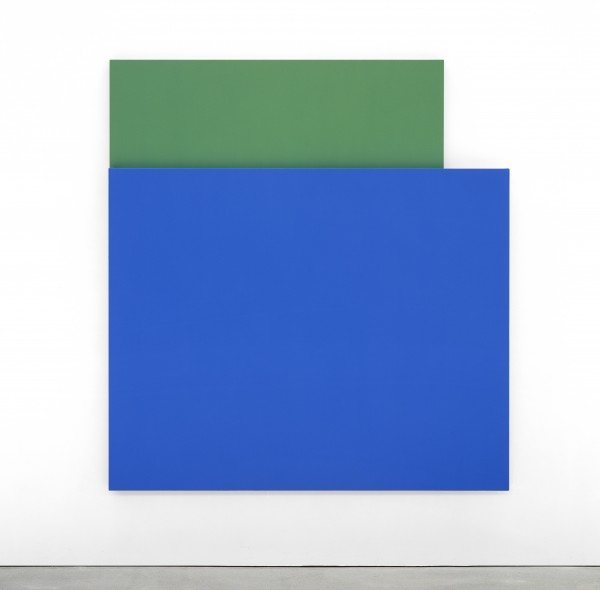 Ellsworth Kelly's Blue Relief over Green, 2004, inspired the FLAG Art Foundation exhibition. (courtesy of the artist)